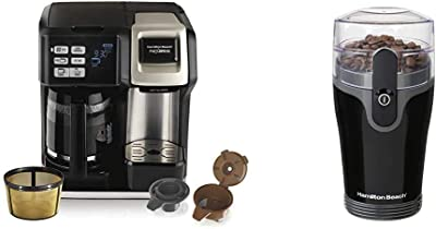 Hamilton Beach FlexBrew Coffee Maker, Black (49950C), Silver & Fresh Grind 4.5oz Electric Coffee Grinder for Beans, Spices and More, Stainless Steel Blades, Black