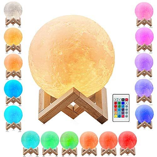 Mayround 3D-Druck-Mondlampe, 9,9 cm, Vollmond-Lampe, LED-Nachtlicht, moderne Lampe [16 Farben] [Fernbedienung] [USB wiederaufladbar] [kostenloser Holzständer] Heimdekoration Lampe (10 cm)
