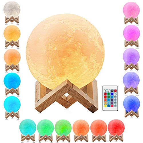 Large 3D Moon Lamp 7.9'',Mayround Full Moon Lamp,3D Modern Lamp[Remote Control][Rechargeable][USB Charging][16 Colors] Moon Light Lamp,Home Decorative Lamp (20cm)