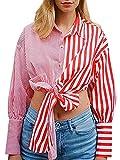Camisas de solapa con botones casuales para mujer con estampado de lunares sueltos de manga larga con nudo de corbata, rosso, L