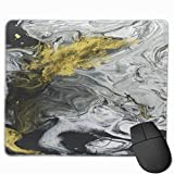 HFXY Alfombrilla de ratón Non-Slip Rubber Gaming Alfombrilla de ratón, Watercolor Marble Abstract Hand Black and White Gold Fragment of Painting On Canvas Contemporary