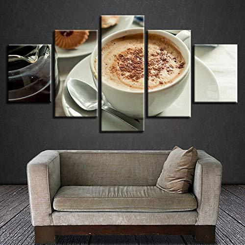 DGFHW Cuadro En Lienzo 5 Piezas Grano De La Taza De Café Dormitorio Arte Cartel Pared Decoración del Hogar Cuadro Pintura para Sala Estar Listo para Marco150X80Cm