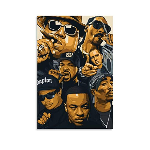 Zpeng West Coast Rappers Old School Hip Hop & Rapper Canvas Art Poster and Wall Art Picture Print Modern Family Bedroom Decor Posters 12x18inch(30x45cm)