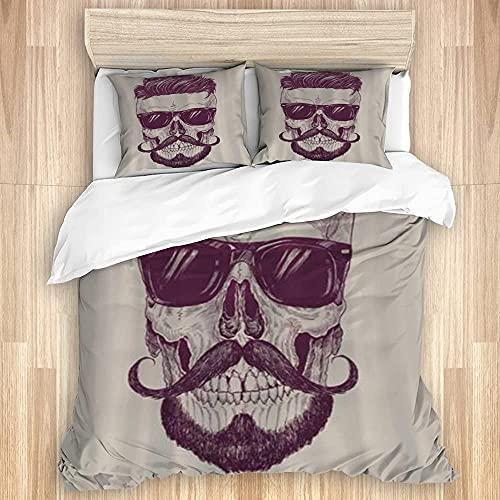 ATZTD Juego de ropa de cama - Funda de edredón, gafas de sol Hipster Hair Mustache Vector Colorido, microfibra 260 x 220 con 2 fundas de almohada de 80 x 50, Super King