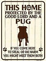 Smart Blonde ビンテージ風 英語版 おしゃれな 猛犬注意の看板 プレート 犬がいます 屋外OK 錆びないアルミ製 (ミニ (11.5x15cm), パグ)
