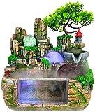 XIAOWANG Fontane da Interno Indoor & Outdoor Fountain Decorazione Fontana Fontana a Cascata Desktop di Acqua rocaille Decorazione Acquario al Coperto Bonsai Accessori Artigianato Resina casa