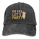 Ahdyr Gorros de Mezclilla Lavados Orgullosos Militares Gorra de béisbol Ajustable Unisex-I 'm Fat Let' s Party / Black2