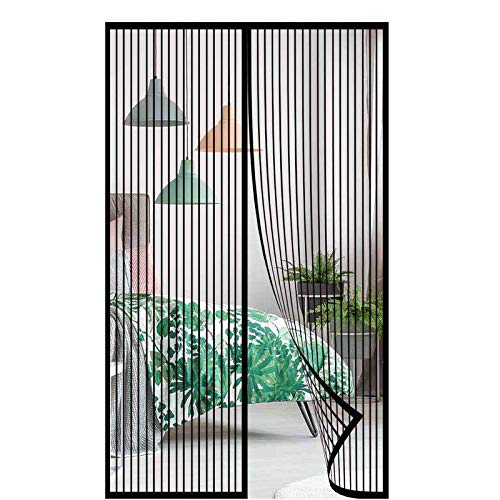 Magnet Fliegenvorhang,Magnet Fliegengitter Balkontür Insektenschutz Türvorhang Automatisches Schließen Ohne Bohren,für Wohnzimmer Terrassentür-Schwarz 1||135x200cm(53x78inch)