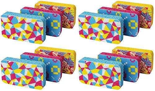 Casabella Cellulose Scrub Sponges Mosaic Print - Plum Lime Orange - 4 Pack (12 Units in Total)