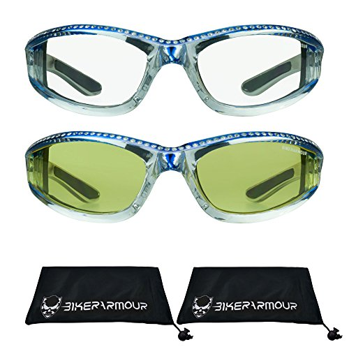 Chrome Frame Motorcycle Sunglasses with Rhinestones Foam Padded for Women