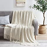 Molly Rocky 100% Acrylic Knitted Throw Blanket Textured Solid Soft Decorative Throw for Sofa, Couch, Bed,50x60 Inch,Beige