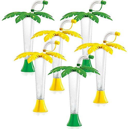 Palm Tree Luau Yard Cups Party 6-Pack - for Margaritas, Cold Drinks, Frozen Drinks, Kids Parties - 9 oz. (250 ml) - set of 6 Yard Cups in assorted Palm colors - BPA Free and Crack Resistant