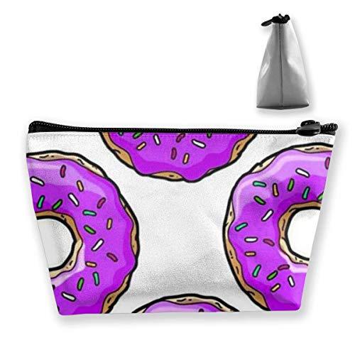 DJNGN Lila Donut Frauen Make-up Taschen Multifunktions-Toilettenartikel Organizer Taschen, Hand tragbare Tasche Travel Wash Speicherkapazität mit Reißverschluss (Trapez)