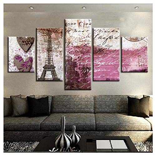 Preisvergleich Produktbild Wwjwf Leinwand Bilder Home Decor 5 Stück Vintage Abstrakt Paris Tower Landschaft Gemälde Drucke Liebe Herz Poster Raum Wandkunst-30X50 30X70 30X80Cm-Kein Rahmen