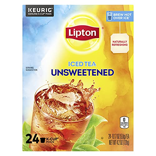 Lipton Iced Tea K-Cup Pods For a Cold Beverage Unsweetened Black Tea Made With Real Tea Leaves 24 Pods