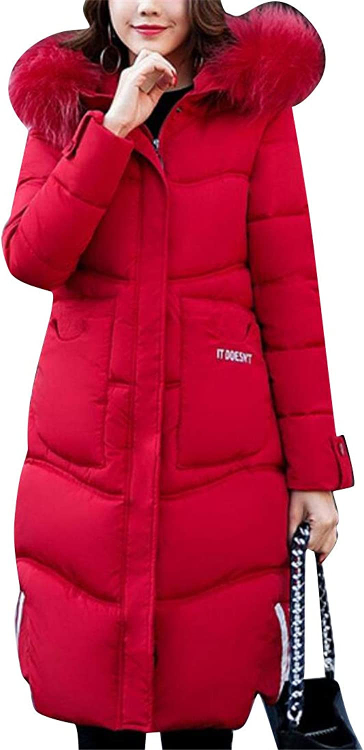 Jofemuho Womens Thicken Winter Zipper Hooded Mid Length Down Quilted Jacket Coat Outerwear