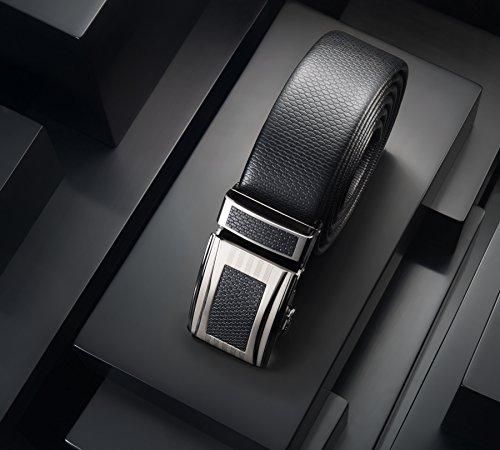 Mio Marino Classic Ratchet Belt – Premium Leather – 1.38 Wide – Adjustable Buckle – Heavy Slate – Adjustable from 38″ to 54″ Waist
