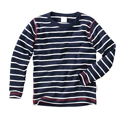 wellyou, Baby Langarm-Shirt, dunkel-blau weiß gestreift, Kinder Longsleeve Geringelt, für Jungen und Mädchen, Baumwoll-Feinripp, Größe 92-98