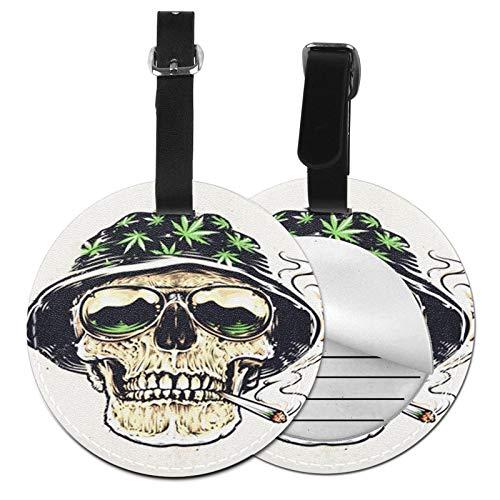 Etiquetas para Equipaje Bolso ID Tag Viaje Bolso De La Maleta Identifier Las Etiquetas Maletas Viaje Luggage ID Tag para Maletas Equipaje Gafas de Sol Skull Hat Leafs