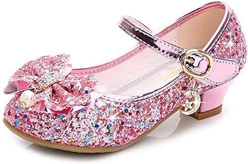 Walofou Kids Girl Princess Shoes Wedding Pink Sequins Little Flower Girls Mary Jane Glitter Shoes Size 7 Cheap Cute Girls High Heels Shoes Cosplay Dress up Bridesmaid (28-05 02Pink 7.