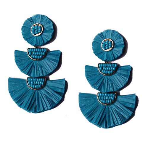 L&N Rainbery Bohemian Handmade Drop Earrings Fashion Beaded Raffia Palm Earrings for Women Tiered Dangle Statement Earrings (Teal)