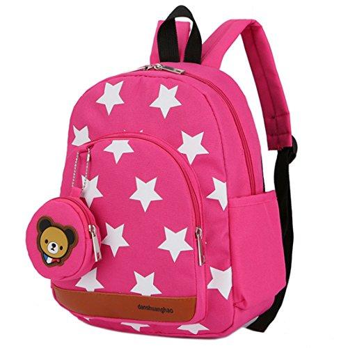 Mochila para niños,Bolsos de Escuela para niños Mochila de Mochila de niño pequeño Bolsas preescolares de guardería Cute Star Bear (3-7 años de Edad)-Rosa