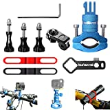 8in1 Aluminum Alloy 360° Roatary Action Camera Bike Motorcycle Handlebar Clamp Mount Kit Motion Sports Camcorder BMX Bicycle Seatpost Pole Holder Compatible with GoPro Sony Akaso-Blue