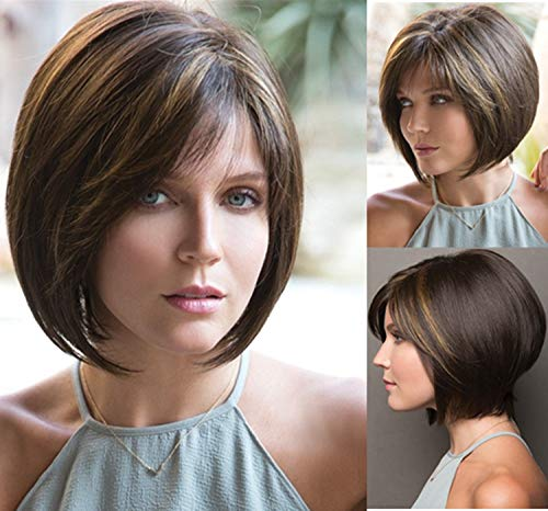 GNIMEGIL Brown Wigs for Women Bob Wig with Bangs Short Hairstyles Wigs Pixie Cuts Synthetic Wigs for White Women Brunette Cosplay Wig Halloween Costume Party