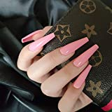 Vaveah 24 Pcs Press on Nails Coffin for Women, Extra Long Fake Nails Glue...