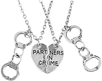 PRETYZOOM Partners in Crime Pendant Necklace Stainless steel Heart Letter Ornaments for Sisters Women Friend Bff Jewelry Graduation Gifts 1 Pair