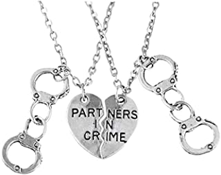 PRETYZOOM Partners in Crime Pendant Necklace Stainless steel Heart Letter Ornaments for Sisters Women Friend Bff Jewelry G...