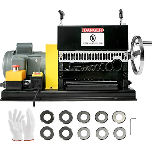 """BestEquip Wire Stripping Machine 0.06"""" -1.5"""",Automatic or Hand-crank Wire Stripper Machine 11Holes & 10 Blades, Automatic Wire Stripping Tool Motor Rated Speed 1400Rpm,for Recycling Copper Wire"""