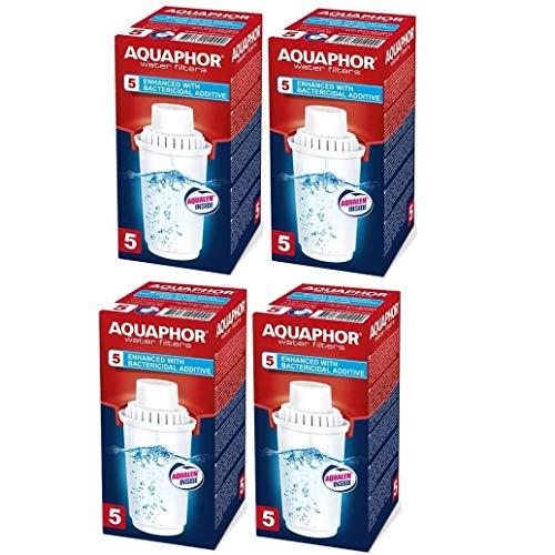 4x Wasserfilterkartusche B100-5 Aquaphor. Für mittel-hartes Wasser, 300 Liter Kapazität. Kompatibel mit Filterkannen Aquaphor Arctic, Prestige, Provance.