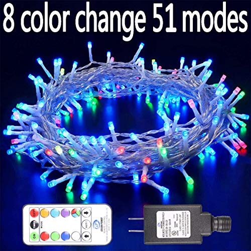 Hopolon 8 Vibrant Color Change String Lights,42.6feet 96LED RGB Decorative Fairy Lights, 51 Modes with Remote,UL Plug in Xmas Lights with 6V Safe Voltage(96LED, RGB)