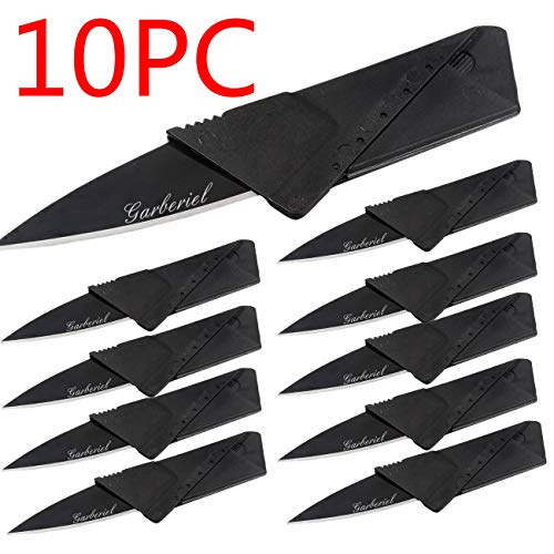 Garberiel 10 Pack Credit Card Knife Multifunction Folding Blade Knives, Black Stainless Steel Blade and Plastic Handle Mini Pocket Knife