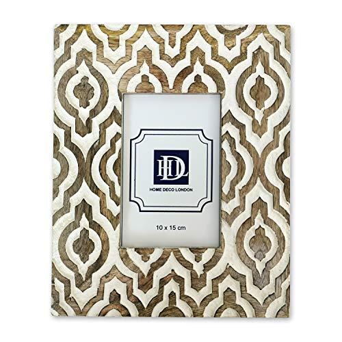 Home Deco London Bilderrahmen, geschnitzt, Gothic-Stil, auf natürlichem Mangoholz, 10 x 15 cm, Weiß