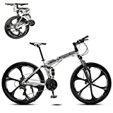 26 Pulgadas Plegable Bicicleta Montaña Para Hombres,Absorbente De Impactos Completo 21 Velocidad Freno De Disco Doble Bicicleta De Carretera,Portátil Bicicleta De Montaña Ligero Bike-J 27 Velocidades