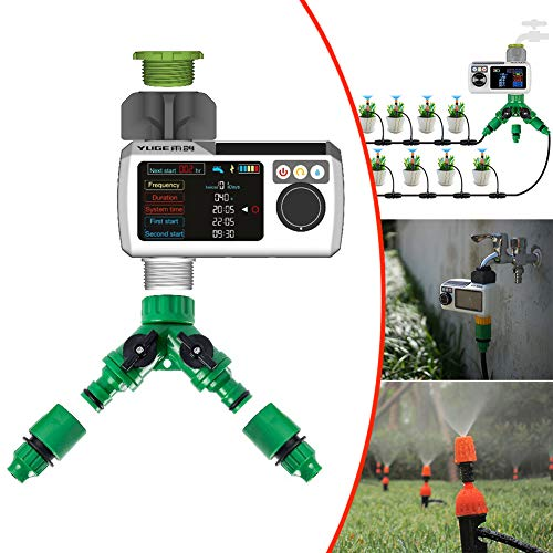JZAMY Automatische Zeitsteuerung Gartensprühanlage Bewässerungsbewässerungsgerät Automatisches Bewässerungsset, Wasserdichtes IP68-Farbdisplay, Solarladung