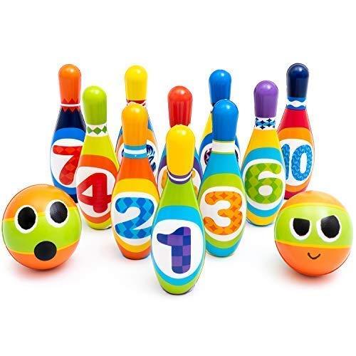 ZenTeck 10-Pins 2-Balls Fun Kids Bowling Play Set Child Safe Lightweight No-Noise Indoor Sport Game Pins & Balls Sport Game for Boys, Girls, Toddlers, Children| Indoor Development