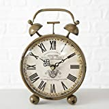 CasaJame Hogar Muebles Decoraciones Accesorios Adornos Reloj de Escritorio Mesa en Forma de Despertador Estilo Inglés Siglo XVIII Hierro Antiguo 1xAA 1,5V 23x16x13cm