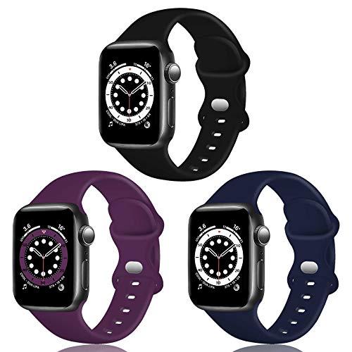 TopPerfekt - Cinturino in silicone compatibile con Apple Watch Strap 42 mm 44 mm, cinturino di ricambio in silicone per iWatch Series 6 5 4 3 2 1 SE (Nero/viola scuro/blu scuro, 38/40mm)