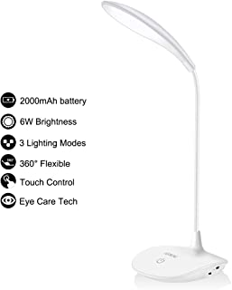 Battery Operated Desk Lamp with 2000mAh Battery,6W Brightness, 3 Lighting Mode, Flexible Gooseneck, Touch Control, Eye-Caring and Energy Saving Dorm Study Office Bedroom Lamp with Adapter