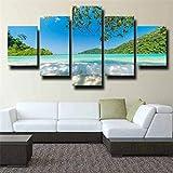 QWASD Impresión En Lienzo - 5 Piezas - Cuadro sobre Lienzo - Playa Verano Viajes Palmas Cuadro De Pintura Póster De Arte Moderno Oficina Sala De Estar O Dormitorio Decoración del