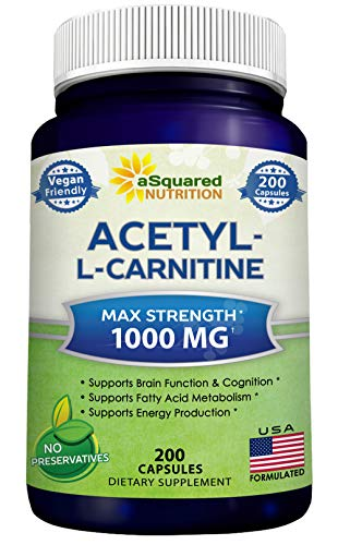 Acetyl L-Carnitine 1000mg Max Strength - 200 Veggie Capsules - High Dosage Acetyl L Carnitine HCL (ALCAR) Supplement Pills to Support Pure Energy, Brain Function & Fatty Acid Metabolism