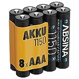 ABSINA Akku AAA Micro 1150 8er Pack - NiMH Wiederaufladbare AAA Batterien mit min. 1050 mAh und 1,2V - Akkus AAA für Geräte mit hohem Stromverbrauch - AAA Batterie perfekt für DECT Handy