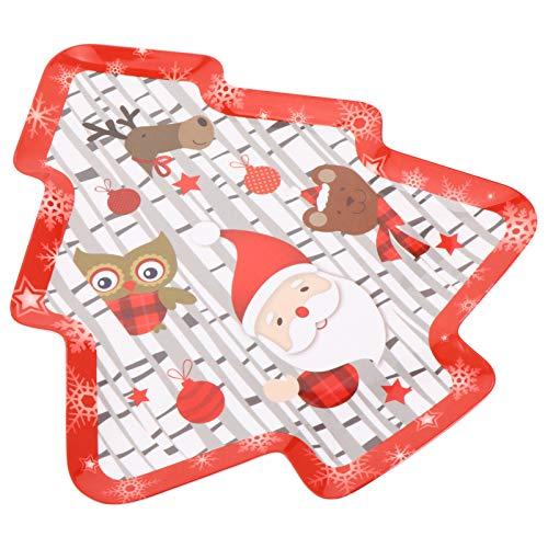 NICEXMAS Platos de Cena de Navidad Bandejas de Servir de Navidad Frutas Decorativas Platos para Servir Bocadillos Platos de Vacaciones para Navidad Suministros para Fiestas