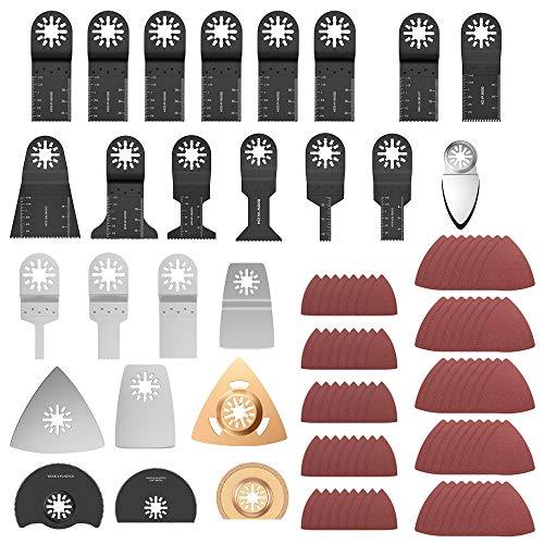 105Pcs Hojas de Sierra Oscilante, Cuchillas Oscilantes para Cortar Madera, Metal y Plástico,Multiherramienta de Hojas Oscilantes con Papel de Lija Triangular