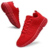UUBARIS Womens Lightweight Casual Walking Shoes Breathable Mesh Fashion Sneakers Athletic Shoes for Women Red Size 8