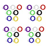28pc Assorted Color Stretchable Plastic Bracelet Wrist Coil Wrist Band Key Ring Chain Holder Tag (7 Mixed Color Each Color 4pcs)