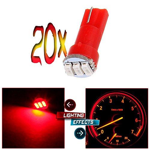 cciyu 20 Pack T5 3-3014SMD Instrument Dashboard Wedge LED Car Light Bulbs Lamp 37 73 Red Fit 1995-1997 1999-2002 Dodge Spirit Viper Stealth B3500 B2500 Ram 3500 Ram 2500 Intrepid Avenger Durango